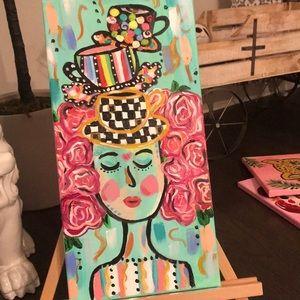 "Original Abstract acrylic whimsical art 10"" x 20"""